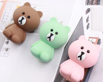 4 pcs  32 x 48 mm Loverly resin Brown bear pendant,  Charm craft jewelry pendant for children
