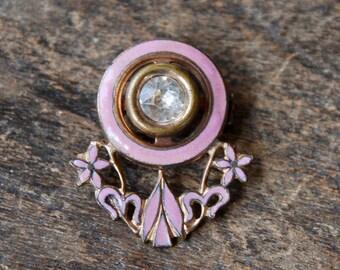 Vintage Rhinestone Enamel Brooch Pink Enamel Clear Rhinestone Gold Gilding Floral Retro 1940's // Vintage Costume Jewelry
