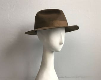 Vintage Burberry Hat / Brown Wool Fedora Hat / Made in England