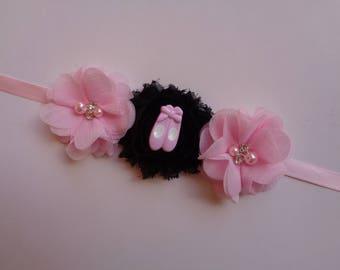 Light Pink & Black Bun Wrap, Ballet Bun Wrap, Ballet Birthday Gift, Ballet Recital Gift, Flowers Bun Wrap