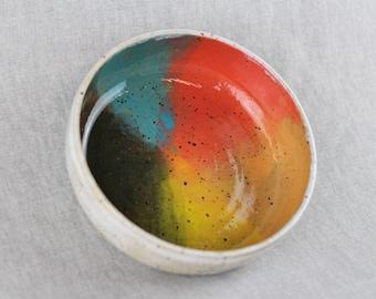 Rainbow ceramic bowl, handmade stoneware pottery, pet bowl (white gloss B)