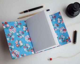 Chiyogami Flower Red Leather Journal, Wrap Journal, Japanese Journal, Blank Book, Mindfulness Gratitude Bucket List Journal, Leather Noteboo
