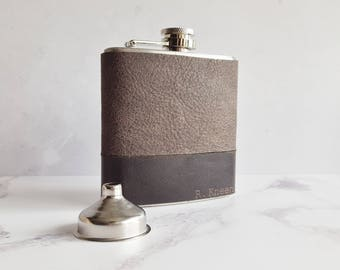 Custom Hip Flask, leather whiskey bottle personalised flask engraved groomsmen gift best man flask wedding keepsake leather hip flask