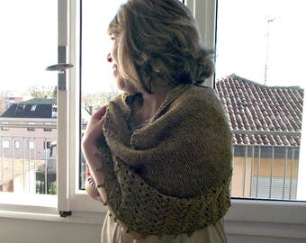 Knitting Pattern Shawl - Eternity Shawl Pattern, knit pattern lace shawl easy knitting pattern vintage look merino yarn shawl pattern