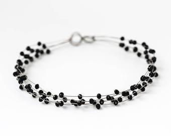 40_Black crystal hair accessories, Silver crystal crown, Dark black bridal crown, Hair jewelry, Crystal bridal hair jewelry, Party crystal