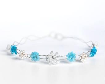 17_  Flower girl headband, Light blue crystal crown, White flower headband, Flower girl crown, Silver crystal headband Flower hair accessory