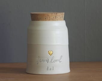 Cremation urn, custom color urn, human cremains or urn for ashes. modern urn. porcelain and bone white with gold shown