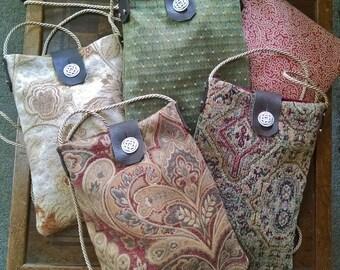 Renaissance Tapestry Purse, Medieval Bag, Cross Body Medium Size Bag W/ Celtic Knot Button, Gypsy, Art Fair - Choose Your Color!