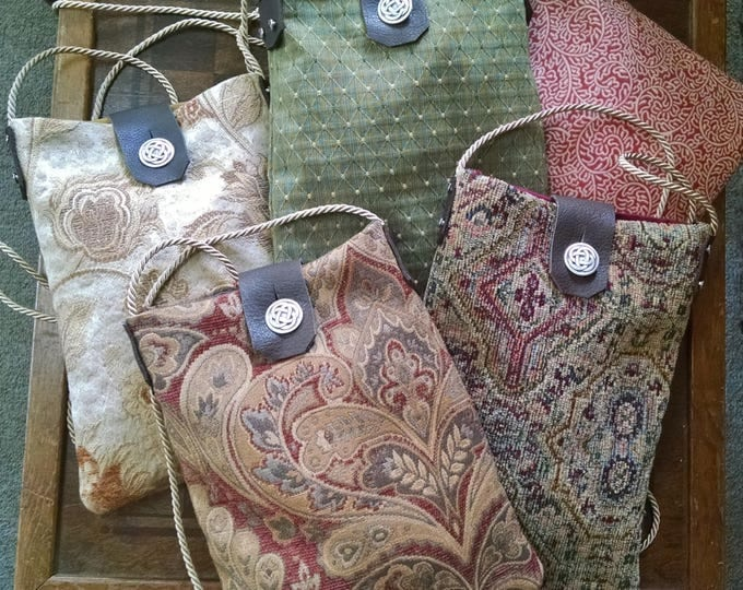 Renaissance Tapestry Purse, Medieval Bag, Cross Body Medium Size Bag W/ Celtic Knot Button, Gypsy, Art Fair - Choose Your Color!