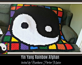 Yin Yang Afghan, C2C Graph, with Row by Row Word Chart