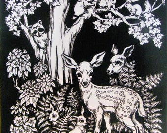 Retro White and Black Raised Fuzzy Art Print of Deer, Raccoon, Squirrel, Rabbit and Forest Scene.