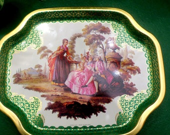 Tin Tole Trays Elite Trays Made in England  Victorian Ladies & Gentleman w Baby So Pretty 6 x 8""