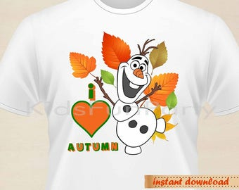Frozen T-Shirt Transfer - INSTANT DOWNLOAD - Olaf - I love autumn