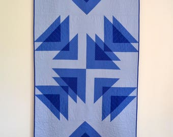 Geometric Quilt, Modern Lap Quilt, Blue Quilt, Blue Modern Quilt, Transparency Quilt