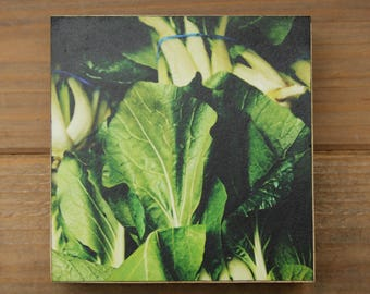 Clearance - Handcrafted 4x4 Wood Photo Block - Bok Choy