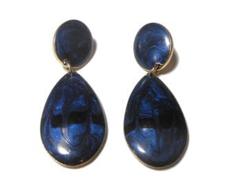 Edgar Berebi earrings 1980s, midnight blue black swirl studs, enamel gold frame, epoxy marbling pierced, teardrop dangling from button