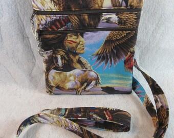 Great Native American Fabric Crossbody bag w/adj Strap