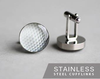 Golf Ball cufflink, Surgical steel cuff link, Ball cufflink, Sport cufflink