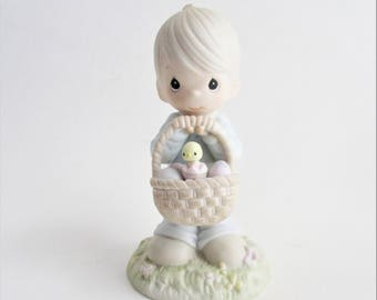 Vintage Precious Moments Figurine Wishing You a Basket Full of Blessings 1987 Easter Decor Collectible