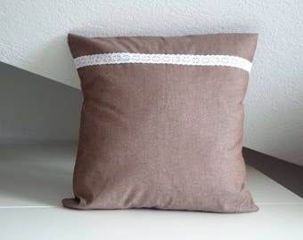Brown cushion cover with lace decoration, pillow cover, 16x16