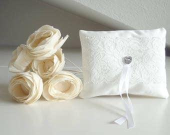 White wedding pillow, little ring cushion, ring bearer cushion with cotton lace decoration, lace ring cushion