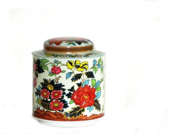 Daher Round Floral Candy Tin Teal Orange Yellow Embossed Flowers Gold Details Tea Trinkets Stash Box
