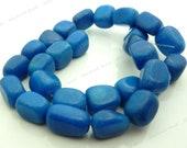 Blue Malaysia Jade Rough Tumbled Nugget Gemstone Beads - 12pcs - 15x10mm to 14x12mm - Pebbles, Free Form Beads - BG27