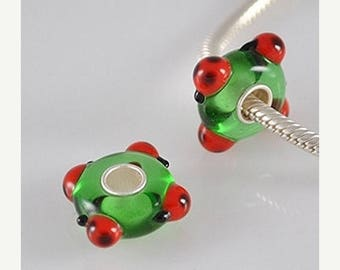 1 Bead - Red Ladybug Green Animal Sterling Silver .925 Lampwork European Bead Charm GJ1751 LC0009