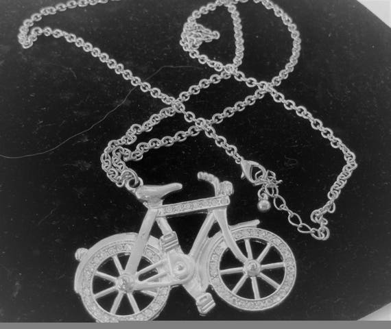 Bicycle Long Necklace -  Silver Tone - Rhinestone Bike Pendant - 32 inch Long Chain Necklace