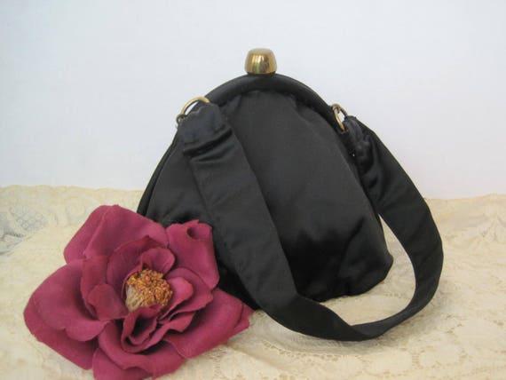 Black Satin Purse- Signed  Ronay - Evening Handbag - 50's Style Bag