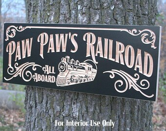 Railroad Sign Anniversary Gift For Men Personalized Man Cave Sign Personalized Garage Sign Cabin Sign Maple PR