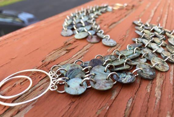 Light Blue Mussel Shell Duster Earrings