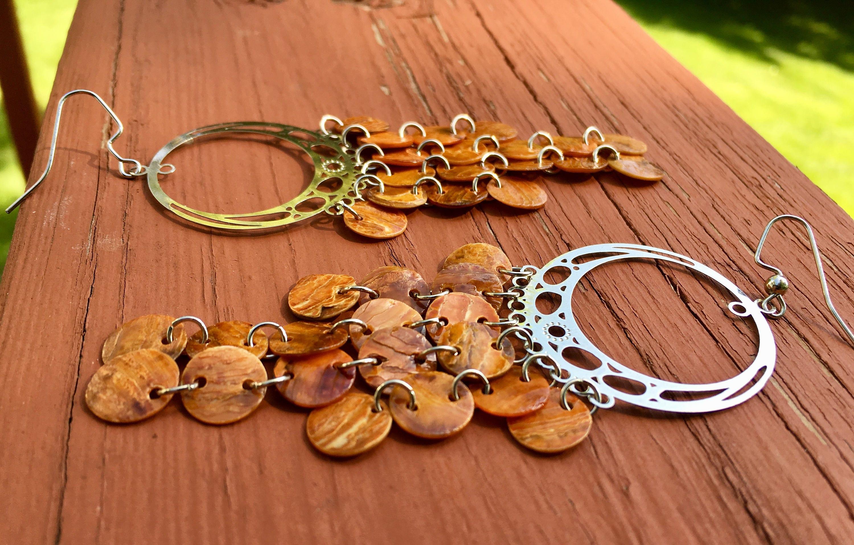 Orange Mussel Shell Chandelier Earrings