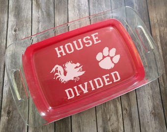 House Divided Custom Engraved Pyrex Dish