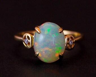 ON SALE White Australian Opal Diamond Ring - 14kt Gold Ring - October Birthstone Ring