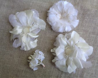 Vintage Millinery Flower Lot in White