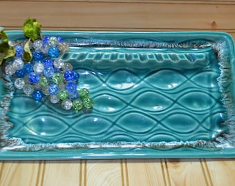 Vintage Ceramic Ashtray Rectangle Green Blue Color Glass Grapes Decor Art Deco USA Collectible Tobacciana Mid Century TV Movie Prop 3D