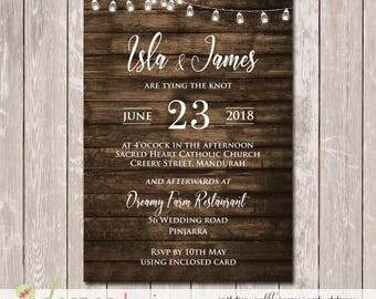 Rustic Vintage Woodgrain Wedding Invitation - YOU PRINT - W051