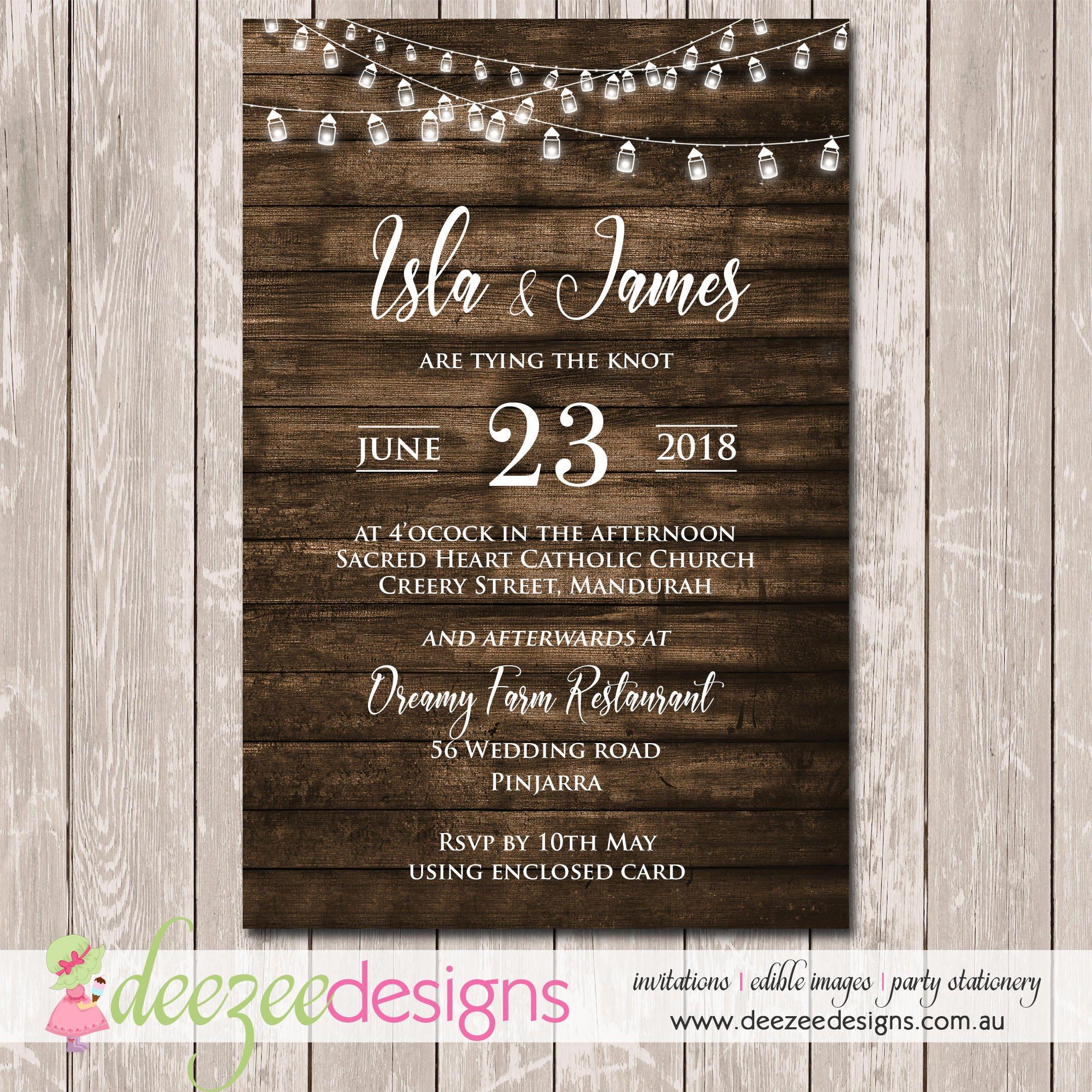 Rustic Vintage Woodgrain Wedding Invitation YOU PRINT W051
