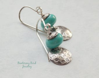 Turquoise Lampwork Glass Bead Earrings with Patterned Sterling Silver Disc and Tiny Handmade Bead Caps, Oxidized Silver Jewelry