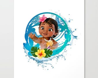 baby moana with water and hawaiian flowers...digital download jpeg.. 16x20 poster