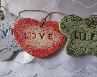 "Set of Three Ceramic "" LIVE, LOVE , LIFE  "" Wall Hanging Tiles"