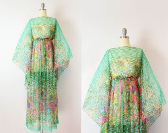RESERVED / vintage 70s kimono sleeve dress / 1970s sheer floral chiffon maxi dress / watercolor floral dress / Anemone dress