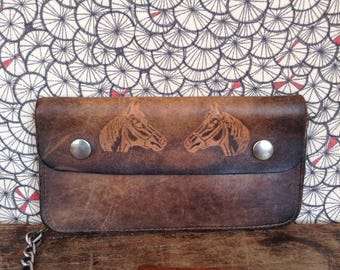 Leather wallet with horse heads