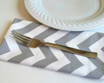 CLEARANCE 4 Dinner Napkins, Gray Chevron Cotton Twill - Set of 4 Four, FREE Shipping, American Made