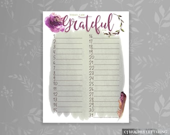 Personal Gratitude Journal Daily - Today I am Grateful For - Full month gratitude journal page - Instant Download & Print