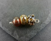 Gold and bronze mini bead set |   handmade lampwork glass.