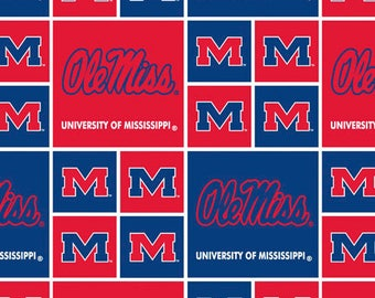 University of Mississippi Cotton Fabric-Mississippi Rebels Ole Miss 100% Cotton Quilting Fabric-Sold by the Yard-Geometric Design