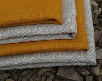 Linen Kitchen Towels Set of 4 Organic Linen Natural Grey and Mustard