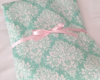 Crib Sheet, Baby Girl Cottage Chic Mint Green  Damask Quality Cotton Fitted Crib Sheet